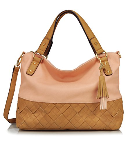 Jessica Simpson Brandi Woven Satchel Shoulder Bag, Peach/Latte