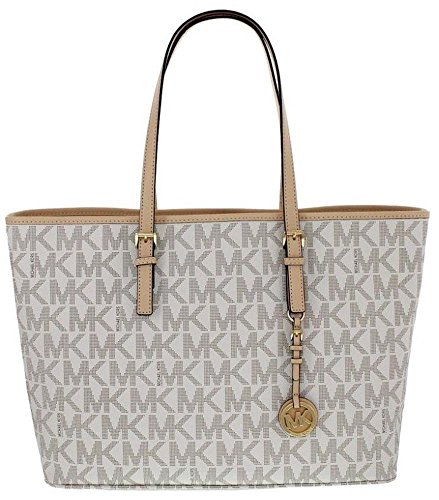 Michael Kors Jet Set Travel Monogram Logo Medium Tote Vanilla