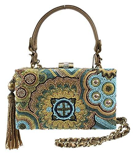 Mary Frances Ambrosia Blue Hand Laid Color & Metallic Beaded Handbag Shoulder Bag *Rare*