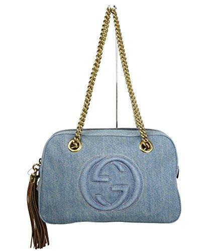 Gucci Blue Soho Denim Tassel Double Metal Chain Top Zip Shoulder Bag 308983 4360