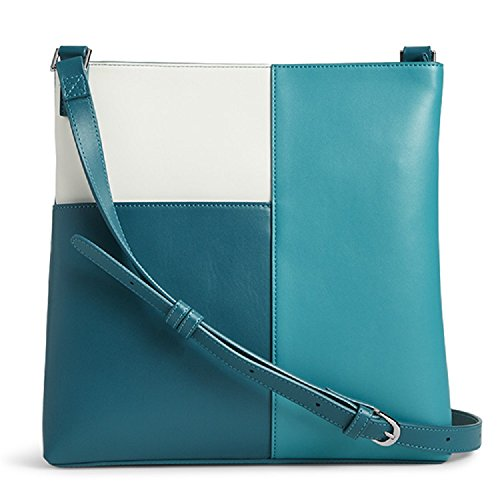 Vera Bradley Faux Leather Composition Crossbody Handbag in Teal/Off White