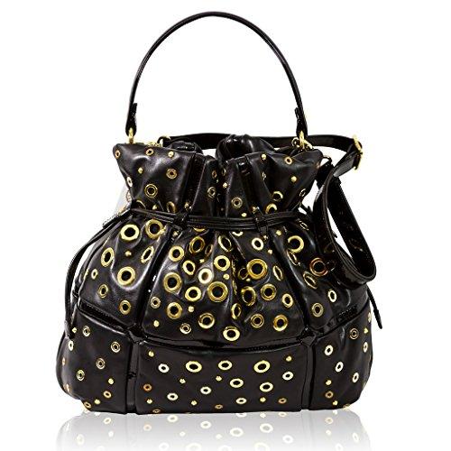 Valentino Orlandi Italian Designer Black Leather Drawstring Bucket Purse Bag