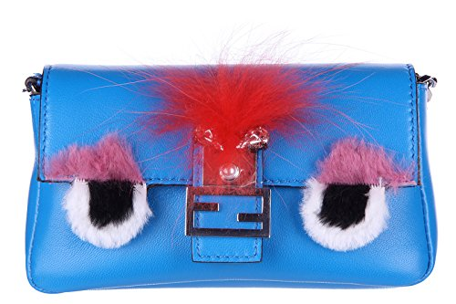 Fendi women's clutch handbag purse with shoulder strap original micro baguette crystal bugs blu