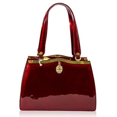 Valentino Orlandi Italian Designer Crimson Red Patent Leather Satchel Purse Bag