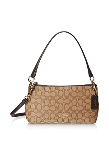 COACH Women's Signature Charley Crossbody LI/Khaki/Brown Shoulder Bag