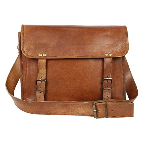 Handmade Leather Messenger Bag for Men Women Vintage Medium College Bag Office Bag