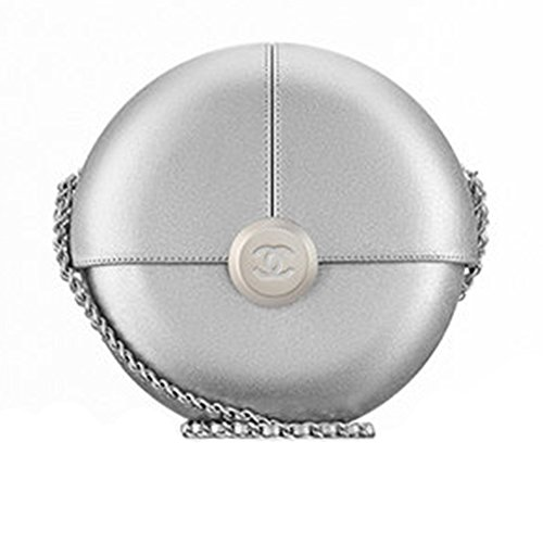 Authentic Chanel Evening Bag Lambskin Silver Metal Item A94448 Y60569 45002 Made in France