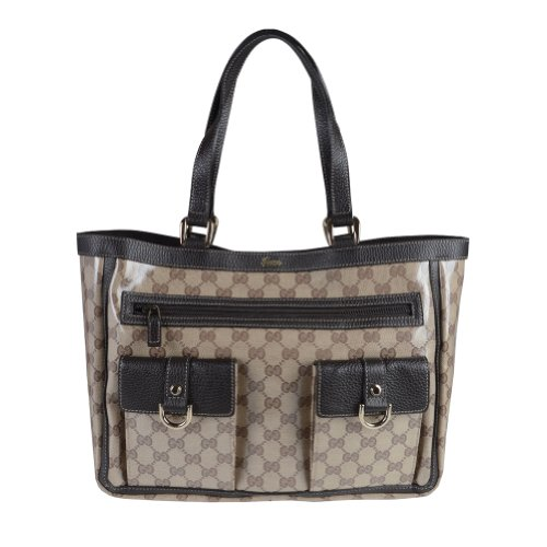 Gucci Women's Beige Coated Canvas Leather Trimmed Guccissima Print Tote Shoulder Bag