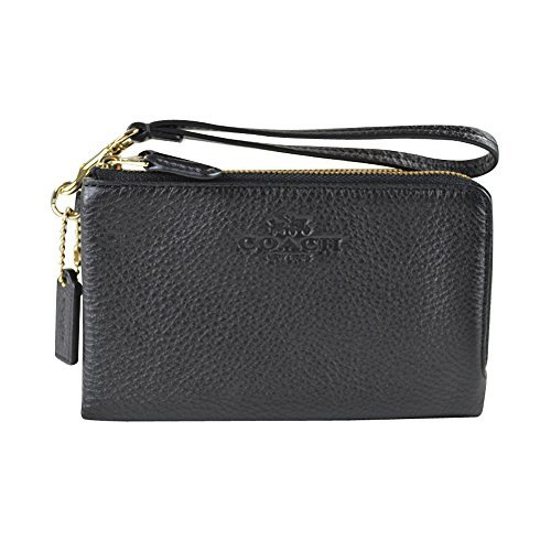 Coach Pebbled Leather Double Corner Zip 64130 Black