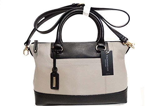 Tignanello Smooth Operator Convertible Satchel Dove Grey/Black Leather T 68705 A