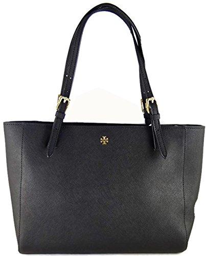 Tory Burch Black Leather Saffiano York Buckle Tote Handbag