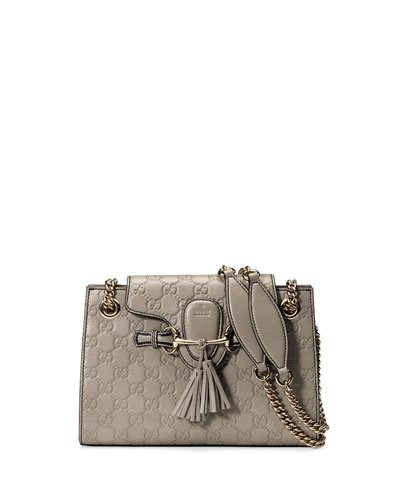09e45881060ba Gucci Emily Guccissima Leather Chain Shoulder Bag Storm Gray Leather New