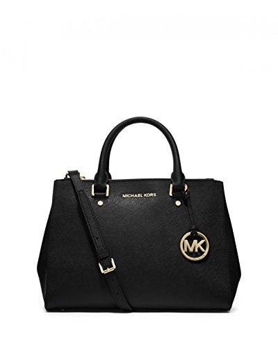 MICHAEL Michael Kors Sutton Saffiano Leather Satchel (Medium, Black MD)