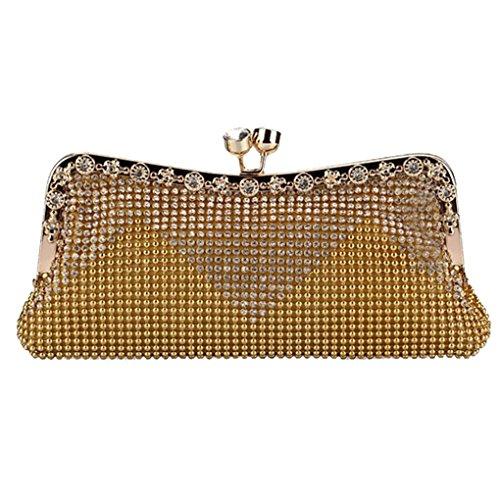 Smartstar Fashion Women Crystals Rhinestones Clutch Evening Bag Handbag – Gold