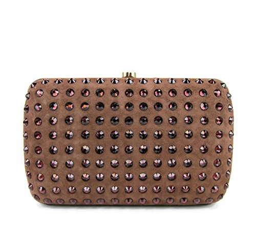 Gucci Brown Suede Broadway Evening Bag Crystal Clutch 310005