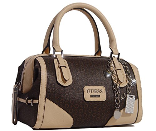 Guess Elettra Logo Framed Satchel Handbag Bag Purse, Natural / Brown