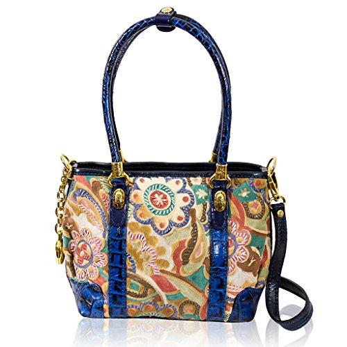 Marino Orlandi Italian Designer JAPA Blue Floral Haircalf Leather Crossbody Bag