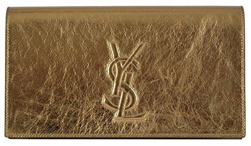 Yves Saint Laurent YSL Metallic Gold Leather Large Belle de Jour Clutch Handbag