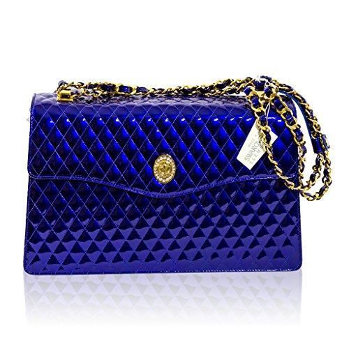 Valentino Orlandi Italian Designer Blue Quilted Leather Purse Crossbody Bag