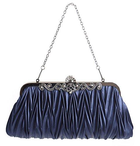 Evening Clutch Handbag for Wedding Proms – Elegant Handmade Purse Fit Any Dressy Event/Gala/Celebration – Navy Blue