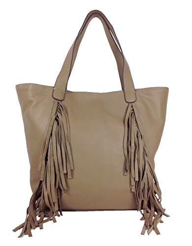 Vince Camuto Shira Fringed Leather Tote, Wild Mushroom
