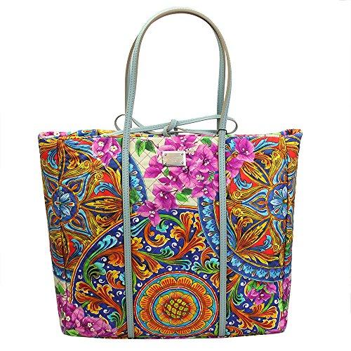 Dolce & Gabbana Womens Flower Print Canvas Tote Bag Bb4391 B9210-1