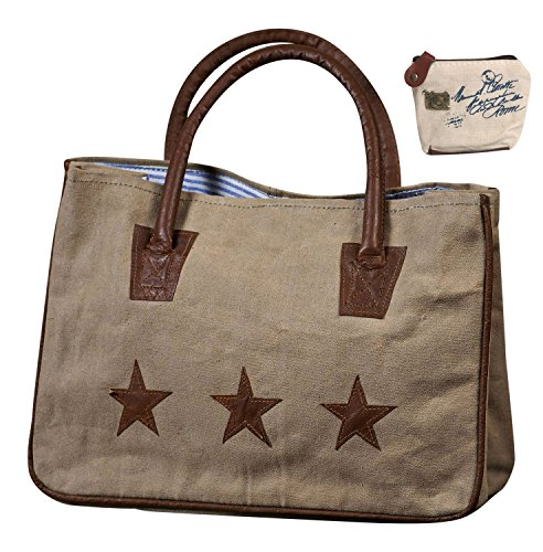 Mona B Star Crossed Upcycled Canvas Handbag M-1040 with Coin Purse
