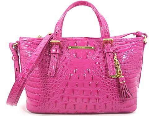 BRAHMIN Mini Asher Genuine Leather Satchel Shoulder Dahlia Melbourne Pink