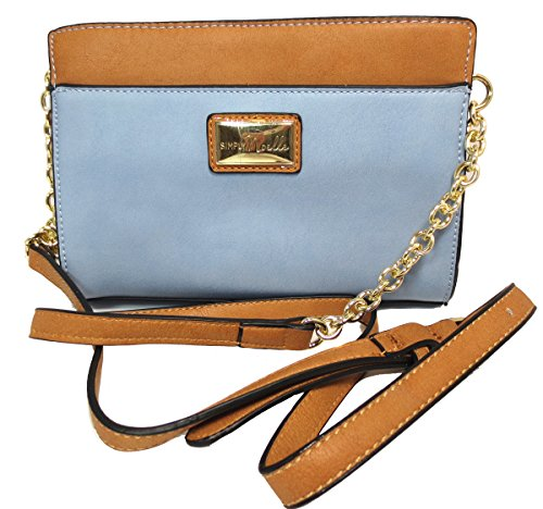 Noelle Vegan Faux Leather Colorful Classic Crossbody with Touch of Chain in Sky Blue