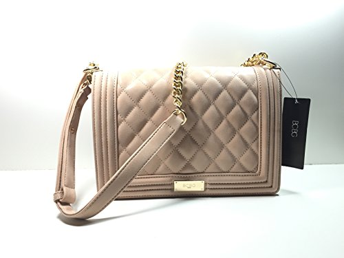 BCBG Matte Quilted Chain Shoulder Bag Toasted Almond B-0115