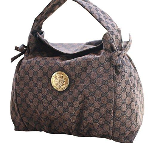 Gucci Brown Canvas Leather Hysteria Hobo Bag Handbag 286307 8370