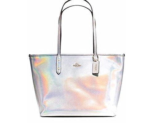 Coach Holinger Leather City Zip Tote – Silver Hologram