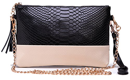 ilishop Women's New Fashion Classy Leather Handbag Shoulder Bag (Black)