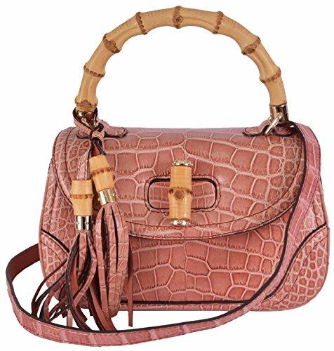 Gucci Women's Light Pink Crocodile Bamboo Convertible Handbag