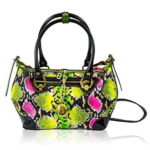 Marino Orlandi Italian Designer Green Python Leather Purse Crossbody Bag