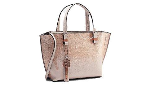 Calvin Klein womens hailey metallic ombre studio tote small bag teaberry color