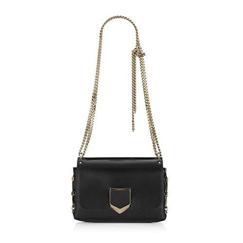 Jimmy Choo Designer LOCKETT PETITE Black and Gold Spazzolato Leather Shoulder Bag Made in Italy