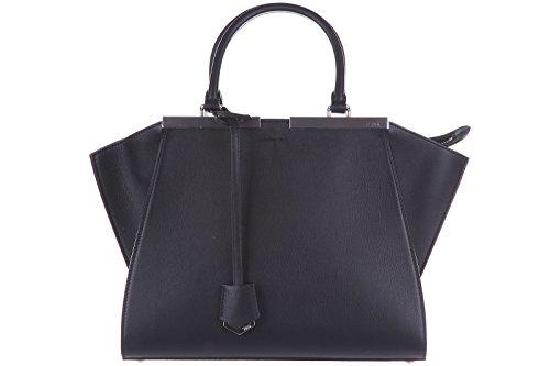 Fendi women's leather handbag shopping bag purse 3 jours black