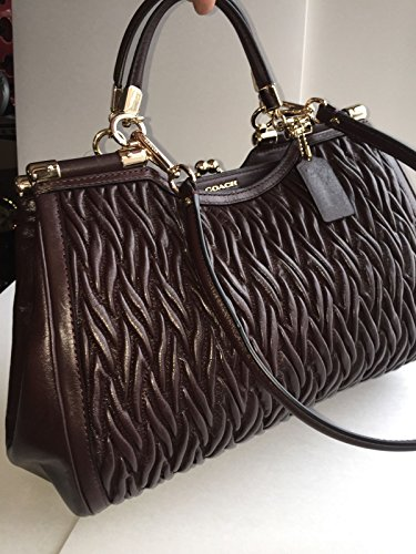 COACH Madison Gathered Twisted Leather Carrie Satchel Purse, F27681, Oxblood