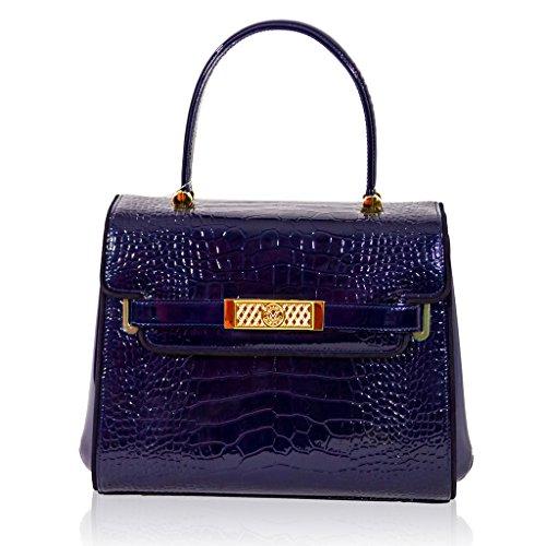 Valentino Orlandi Italian Designer Indigo Croc Leather Purse Structured Bag