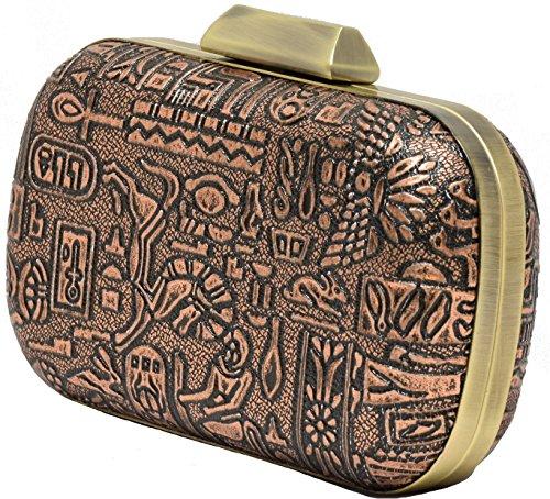 Hearty Trendy Egyptian Art Floral Metallic Textured Box Clutch Shoulder Purse Evening Bag