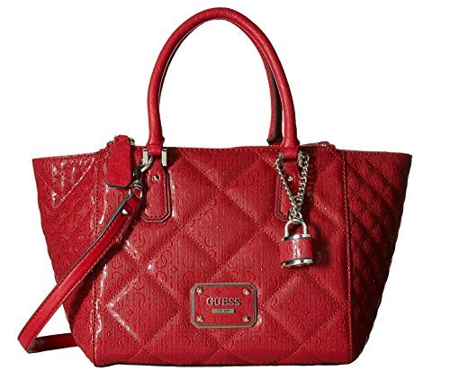 GUESS Ophelia Quilted Satchel Logo Embossed, Lipstick