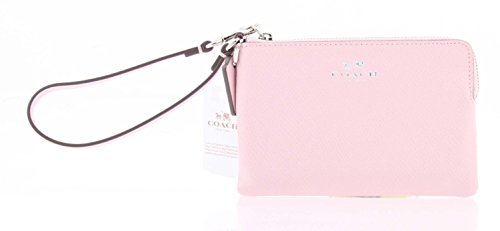 Coach F53429 SV/Petal Corner ZIP Wristlet in Crossgrain Leather