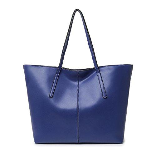 Leyan Women's Soft Genuine Leather Top-handle Large Tote Shoulder Bag Zipper Closure handbag
