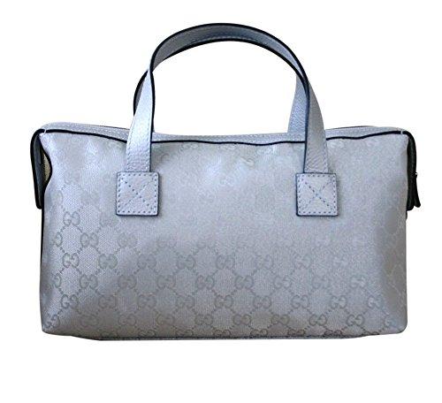 Gucci Women's Canvas Silver Bowling Bag Boston Bag Handbag 264210