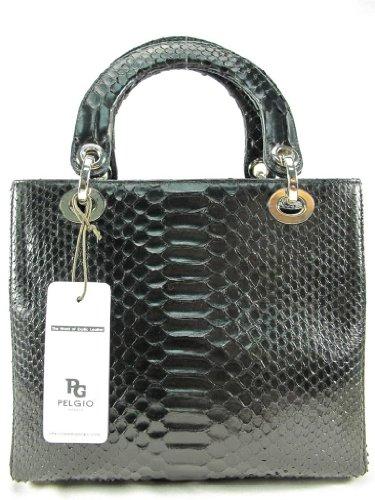 Pelgio Women's Genuine Python Skin Handbag Purse Black