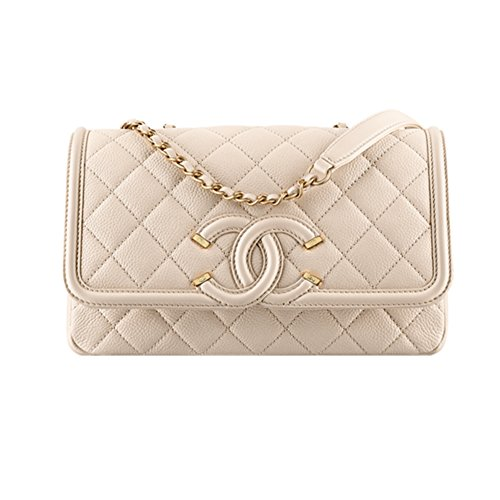 Authentic Chanel Flap Bag Grained Calfskin Light Beige Item A93340 Y60542 2B476 Made in France