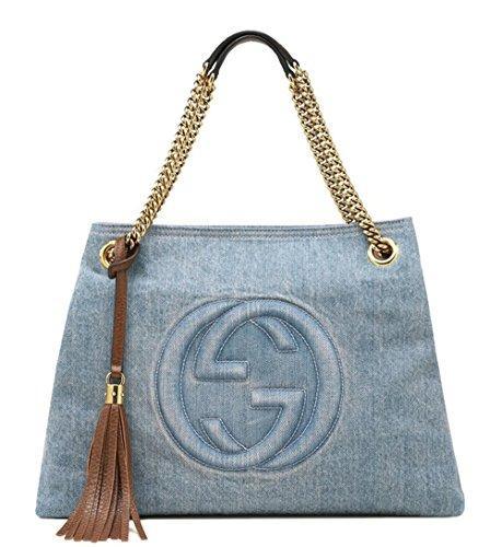 Gucci Blue Soho Denim Metal Chain Tassel Shoulder Tote Bag 308982 4360