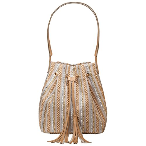 Eric Javits Women's Handbag Millicent Bucket Bag (Peanut/Silver/Gold)