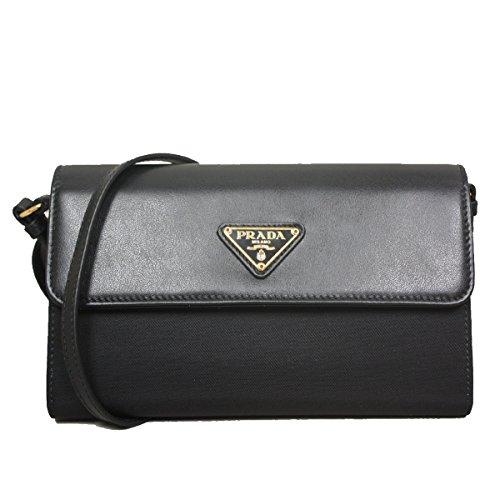 Prada Black Wristlet with Folding Wallet Ladies Vernic Shiny Black Leather 1M1438 Handbag
